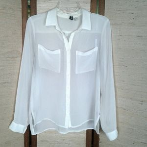 Divided sheer button down blouse 6 cream/White